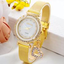 Relógio Feminino Quartzo De Luxo Dourado Strass E Pingente