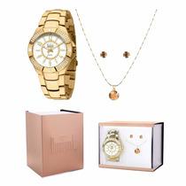 Kit Relógio Dumont Feminino Com Colar E Brincos Sp85541/k4b