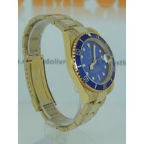 Relógio Masculino Submariner Dourado Azul Oyster Cores
