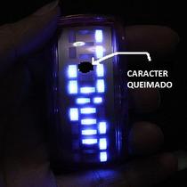 Relógio Azul Futurista Led - Preto (defeito)