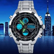 Relógio Importado Boamigo Aço Inoxidável Analógico-digital