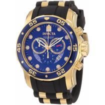 Relógio Invicta Scuba Diver 6983 Banhado Á Ouro 18k + Maleta