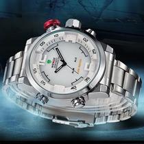 Relógio Esportivo Aco Inox Led Alarme Weide Wh2309 Original