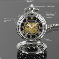 Relógio Infantry Bolso Pacifistor Esqueleto Mecânico Vintage