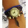 Relógio Femino Pulseira Couro Com Pingente Vintage Fashion