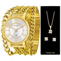 Relógio Lince Lrg4241l K080s2kx Kit Jóias Ouro - Refinado