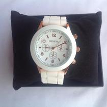 Relógio Feminino Marca Geneva Branco Arremate Leilão