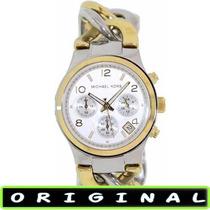 Relógio Michael Kors Mk3199 Gold/pra 38mm Midsized Original