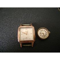 Lote De 02 Relógios De Pulso Feminino Em Plaque De Ouro