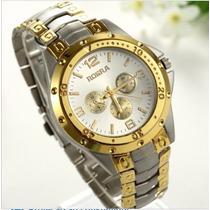 Relógio Analógico Masculino M/ Rosra Prata C/ Dourado Novo
