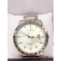 Relógio Masculino Original Prata Atlantis Com Calendário