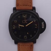 Relógio Masculino Luxo Ck Calvin Klein Pulseira Couro Canvas