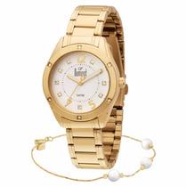 Relógio Feminino Dumont Dourado Sa85313/k4b - Com Pulseira