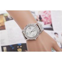 Relógio Prateado Quartzo Moda Feminina