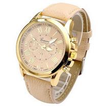 Relógio Analógico Caixa Dourada Fem. M/ Geneva Kit C/ 2 Unds