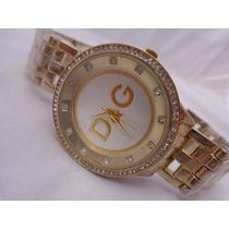 Lindo Relógio D&g Cor Ouro Escuro Strass No Leilão De 1,00