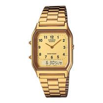 Relógio Casio Dourado Vintage Aq-230ga-9bmq Retro Original