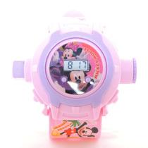 Relógio Infantil Para Criança Rosa Grande Projetor Da Minie