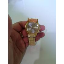 Relógio Feminino Geneva Luxury Com Strass Dourado Ou Rose