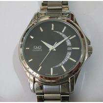 Relógio De Pulso Q & Q Masculino Caixa Da Aço Calendário
