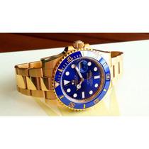 Relógio Submariner Ouro Azul Safira Sedex Grátis Promoção
