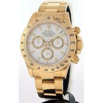 Relógio Daytona Dourado Gold Fundo Branco Safira Sedex Gráts