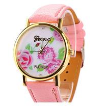 Relógio Feminino Pulseira Couro Ecológico Luxo