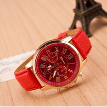 Relógio Quartzo Geneva Feminino. Couro + Aço Inox