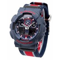 Relógio Casio G-shock Ga100mc 2a Tecido Azul Novo Original