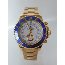 Relogio Masculino Yacht Master 2 Oyster Blue/gold Automatico