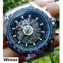 Relógio Esqueleto Automático Winner Pulseira Aço Importado