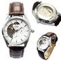 Relógio Importado Pulseira De Couro Semi-automático