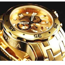 Relogio Invicta Scuba Diver 0074 Banhado A Ouro Dourado