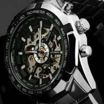 Relógio Masculino Automático Skeleton Prateado Luxo 01