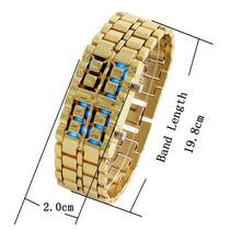 Relógio Pulseira Samurai Gold Dourado Led Azul