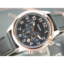 Relógio Orient Cronógrafo Quartzo Plaque Ouro Rose Mrscc007
