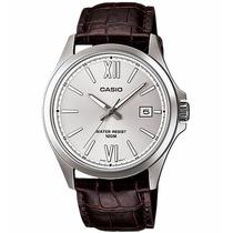 Relógio Casio Mtp-1376 L-7av Pul. Couro E Caixa Aço Wr-100 M