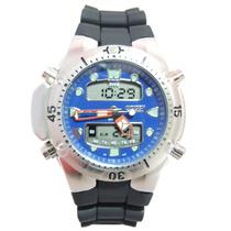 Relógio Masculino Citzem Novo Aqualand Prata E Azul Jp1060