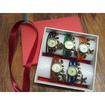 Promoção - Kit Com 5 Relógios Vintage Feminino Em Couro