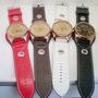 Relógio Analógico Pulseira De Couro M/ Womage Kit Com 2 Unds