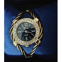 Relógio Fem Preto E Dourado C/pulseira Em Aço Pronta Entrega