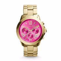 Relógio Michael Kors Mk5924 Dourado C Rosa Original Lindo