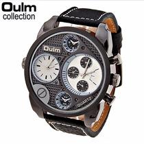 Relógio Marca Oulm Men Watch Couro Quartz À Prova D