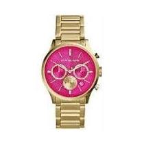 Relógio Feminino Dourado Com Strass E Calendario Com Brinde
