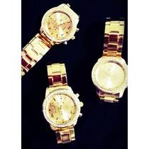 Relógio Feminino Cor Dourado Tipo Ouro Clássico E Elegante!