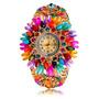 Relógio Bracelete* Faschion Flower Folheado A Ouro 24 K