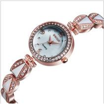 Relógio Feminino Clássico Cor: Ouro Rosê