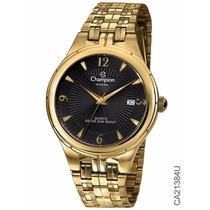 Relógio Dourado Champion Ca21384u Original 1 Ano De Garantia