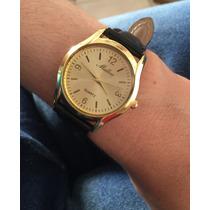 Relógio Feminino? Fundo Dourado - Couro Preto - Barato