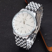 Relogio Masculino Quartzo Steel Watch Malha Branco/prata